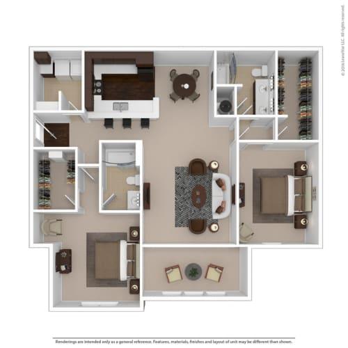 Floor Plan  Riverstone two bedroom & two bathroom floor plan with 1495 square feet called Diamond Great Room in Macon, GA