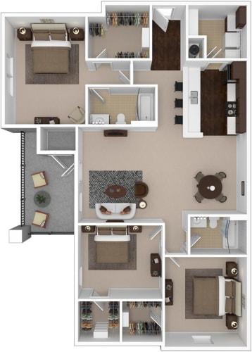 Floor Plan  Riverstone three bedroom & two bathroom floor plan with 1440 square feet called Emerald in Macon, GA