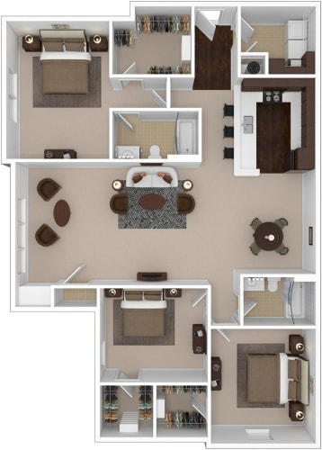 Floor Plan  Riverstone three bedroom & two bathroom floor plan with 1590 square feet called Emerald Great Room in Macon, GA