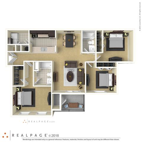Floor Plan  Falls at Spring Creek three bedroom & two bathroom floor plan with 1320 square feet called Presidio in Macon, GA