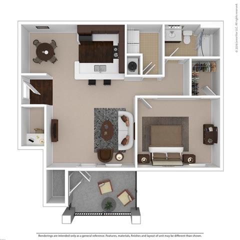 Floor Plan  Riverstone one bedroom & one bathroom floor plan with 850 square feet called Amethyst in Macon, GA
