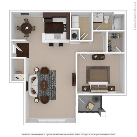 Floor Plan  Riverstone one bedroom & one bathroom floor plan with 990 square feet called Amethyst Great Room in Macon, GA