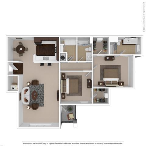 Floor Plan  Riverstone two bedroom & two bathroom floor plan with 1390 square feet called Crystal Great Room in Macon, GA