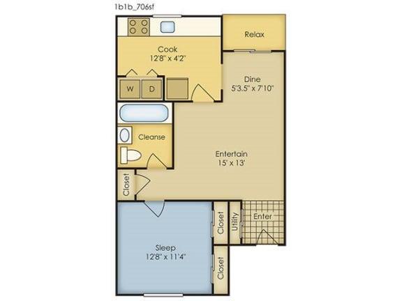 Floor Plan  1 Bedroom Garden Style