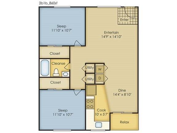Floor Plan  2 Bedroom Garden Style