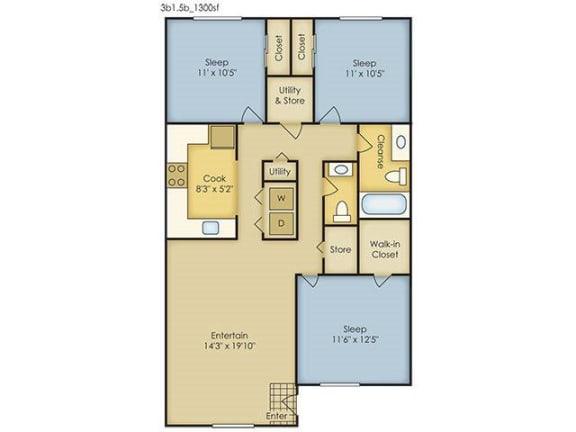 Floor Plan  3 Bedroom Garden Style