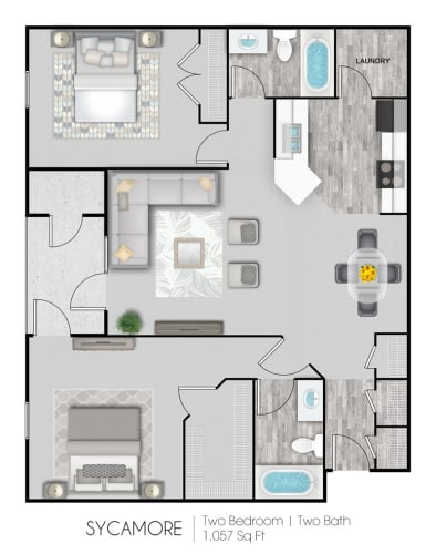 Floor Plan  Summer Trace two bedroom & two bathroom floor plan with 1057 square feet called Sycamore in Gulf Shores, AL
