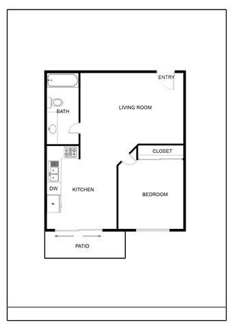 Floor Plan  1 Bedroom 1 Bath Small