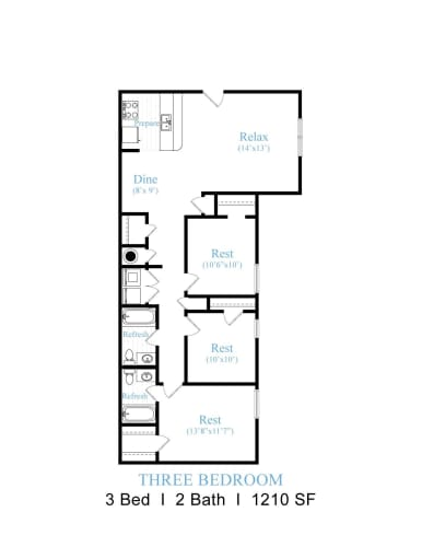 Floor Plan  3 Bedrooms, 2 Bathrooms