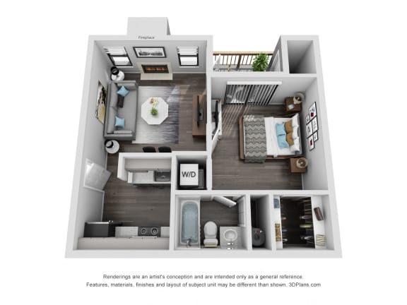 Floor Plan  Avisa Lakes Ashland 1 bedroom apartment for rent