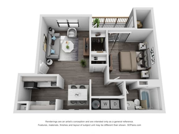 Floor Plan  Avisa Lakes Magnolia 1 bedroom apartment for rent