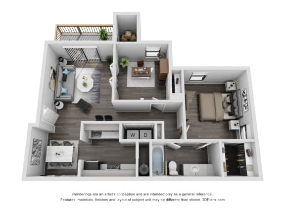 Floor Plan  Avisa Lakes Waverly 1 bedroom with den apartment for rent