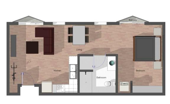 Floor Plan  1 Bedroom, 1 Bathroom, Building B. 648 square feet.