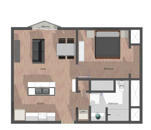 Floor Plan  1 Bedroom Building C - 655 sf