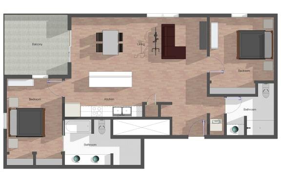 Floor Plan  2 Bedroom, 2 Bathroom.  1,137 square feet.