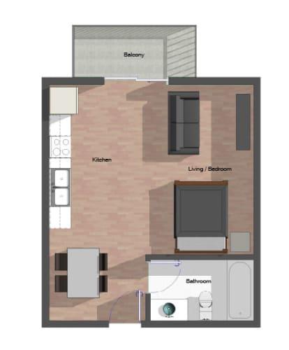 Floor Plan  Studio Building B, 461 square feet