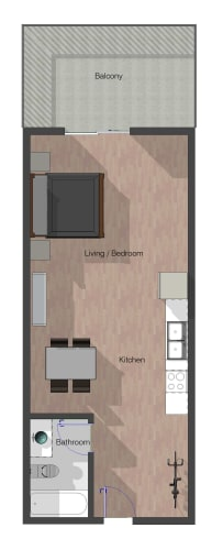 Floor Plan  Studio, 1 Bathroom. Building C. 556 square feet.
