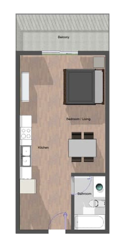 Floor Plan  Studio, 1 Bathroom.  461 square feet.