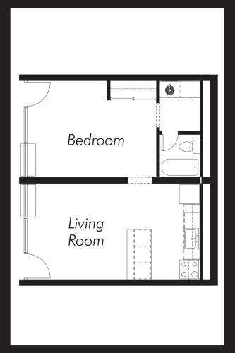 Floor Plan  1A: Beds-1: Baths-1: Sq Ft Range - 565-565