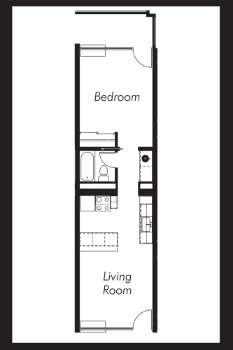 Floor Plan  1B: Beds-1: Baths-1: Sq Ft Range - 580-580
