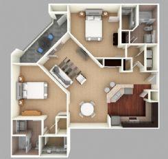 Floor Plan  Bundrick: Beds-2: Baths-2: Sq Ft Range - 1260-1260