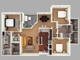 Floor Plan  Dreher: Beds-3: Baths-2: Sq Ft Range - 1415-1415