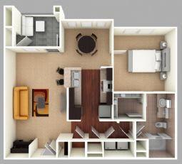 Floor Plan  Hilton: Beds-1: Baths-1: Sq Ft Range - 853-853