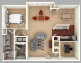 Floor Plan  Martin: Beds-1: Baths-1: Sq Ft Range - 1151-1151
