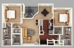 Floor Plan  Murray: Beds-2: Baths-2: Sq Ft Range - 1176-1176