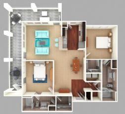Floor Plan  Saluda: Beds-2: Baths-2: Sq Ft Range - 1250-1250