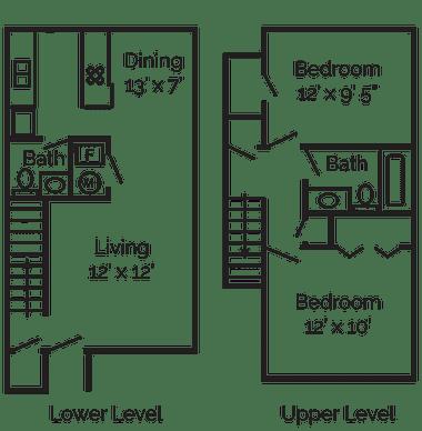 Floor Plan  2 Bedrooms, 1.5 Bathrooms