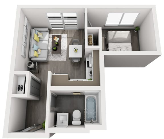 Floor Plan  1x1 A - Unfurnished