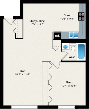 Floor Plan  1 Bed 1 Bath Floorplan at Reside 707 Apartments, Illinois, 60613-3223