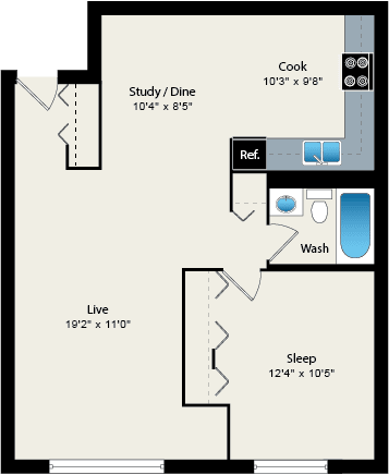 Floor Plan  1 Bed 1 Bath Floorplan at Reside 707 Apartments, Chicago, 60613-3223