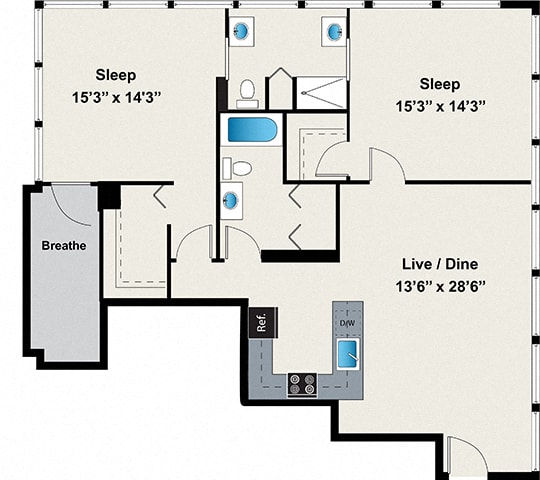 Floor Plan  2 Bed 2 Bath Floor plan at 24 S Morgan Apartments, Chicago, Illinois