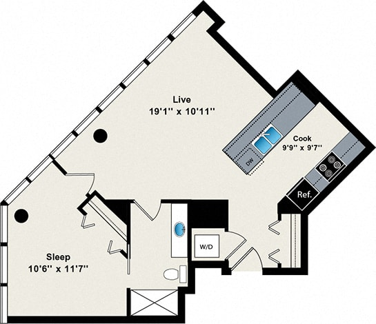 Floor Plan  1 Bed 1 Bath Small 660 Floor Plan at Reside on Green Street Apartments, Chicago, Illinois