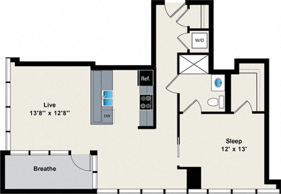 Floor Plan  1 Bed 1 Bath Large Floor Plan at Reside on Green Street Apartments, Chicago, Illinois