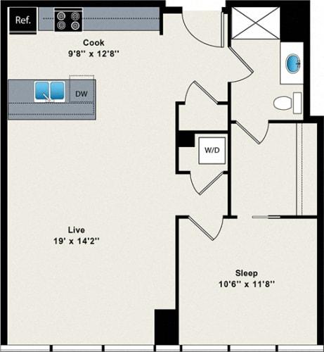 Floor Plan  1 Bed 1 Bath Medium 790 Floor Plan at Reside on Green Street Apartments, Illinois, 60642