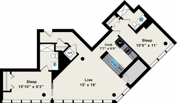 Floor Plan  2 Bed 2 Bath 1111 Floor Plan at Reside on Green Street Apartments, Chicago, IL