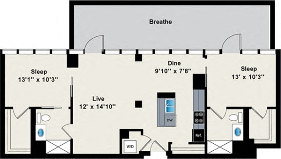 Floor Plan  2 Bed 2 Bath Penthouse Floor Plan at Reside on Green Street Apartments, Chicago, IL