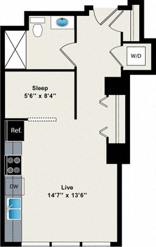 Floor Plan  0 Bed 1 Bath Convertible 458 Floor Plan at Reside on Green Street Apartments, Chicago, IL