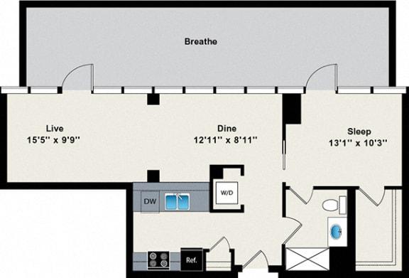 Floor Plan  1 Bed 1 Bath Penthouse 745 Floor Plan at Reside on Green Street Apartments, Illinois, 60642