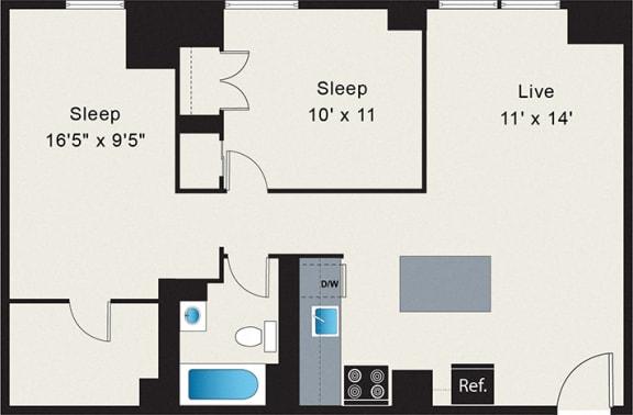 Floor Plan  Apt 225 Two Bedroom Floor Plan at the Belmont by Reside