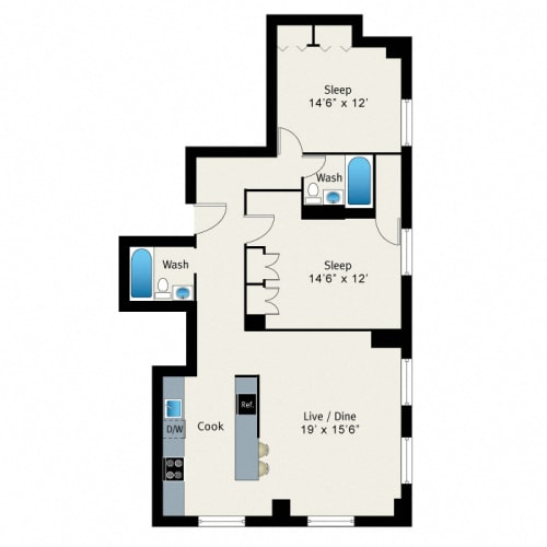 Floor Plan  2 Bed 2 Bath Floorplan at The Belmont by Reside Apartments, Chicago, 60657-4830
