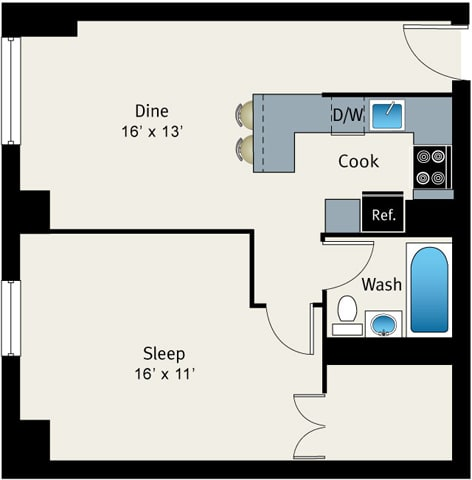 Floor Plan  1 Bed 1 Bath Floor plan at The Belmont by Reside Apartments, 60657-4830, IL