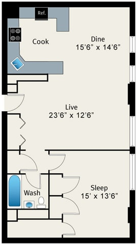 Floor Plan  1 Bed 1 Bath Floorplan at The Belmont by Reside Apartments, Chicago, Illinois