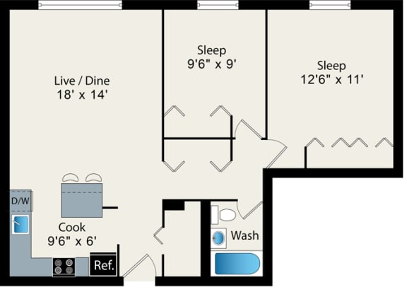 Floor Plan  2Bed 1Bath Floorplan at Reside on Barry Apartments, Chicago, Illinois