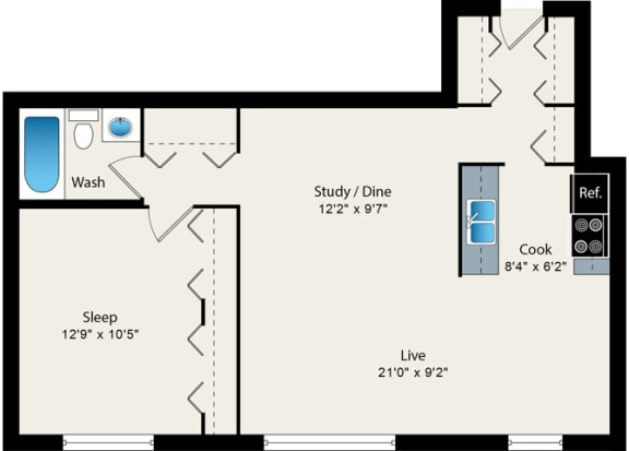 Floor Plan  1 Bed 1 Bath Floorplan at Reside 707 Apartments, Chicago, IL