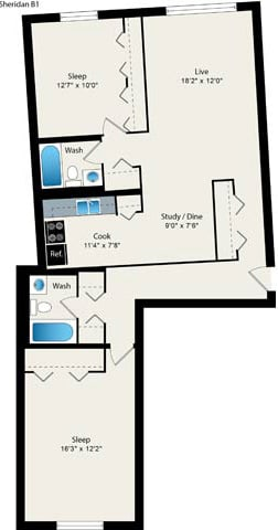 Floor Plan  2 Bed 2 Bath Floorplan at Reside 707 Apartments, Chicago, IL