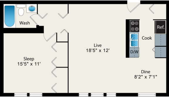 Floor Plan  1 Bedroom Floor plan at Reside at 2727 Apartments, IL, 60614